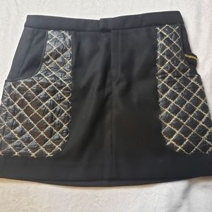 2b Rych Black Knee Length Skirt w/ Pocket & Gold